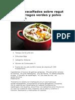 Receta Huevos Escalfados Sobre Ragut de Espárragos Verdes y Polvo de Jamón