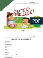 PROYECTO DE APRENDIZAJE  5° SETIEMBRE - 2015