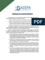 Decalogo Prensa Argentina