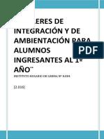 Talleres de Integración ingreso 1º año Instituto Rosario de Lerma