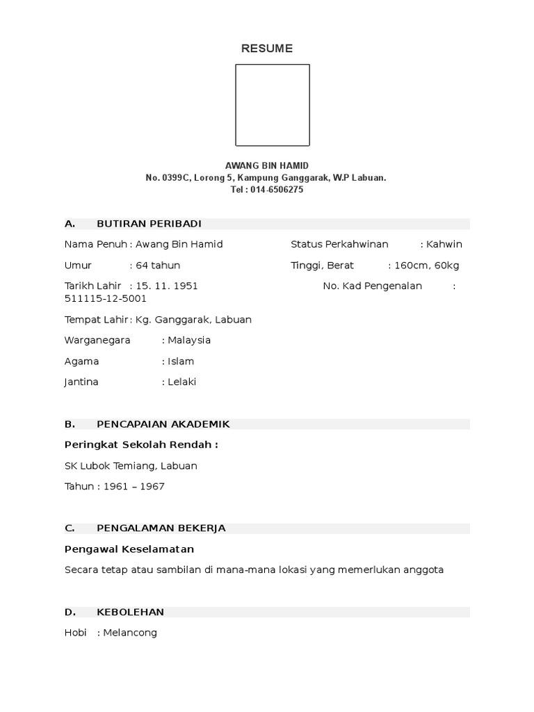 Contoh Resume Ringkas Bahasa Melayu
