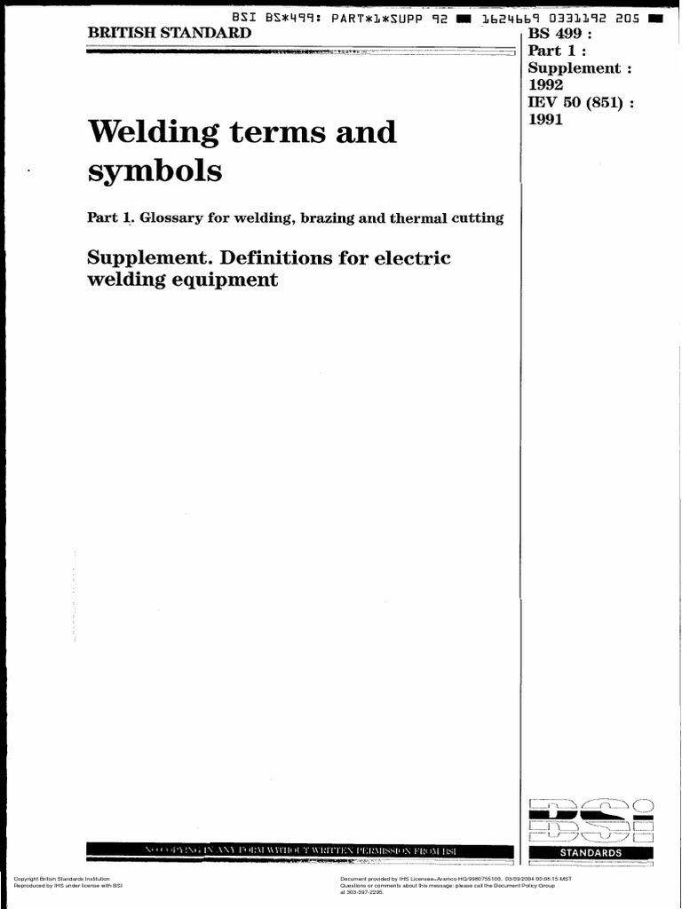 Bs 499pdf Electrode Electric Arc
