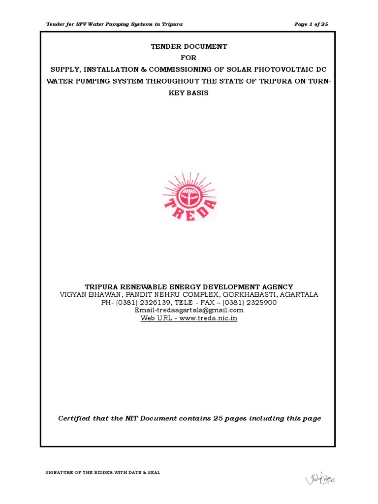 NIT for SPV Water Pumping System in Tripura pdf | Payments