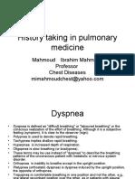 History Taking in Pulmonary Medicine