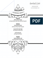 Napkin Menu From Download and Print