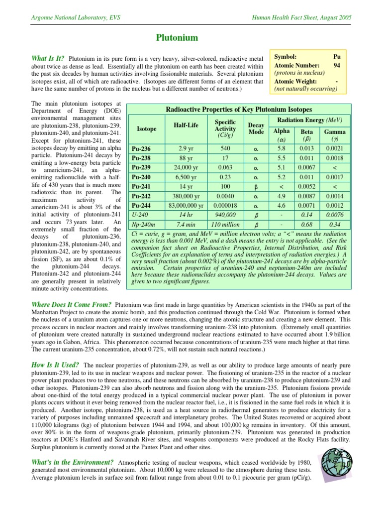Plutonium Fact Sheet Plutonium Radioactive Decay
