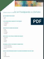 Questionnaire on Foodpanda vs Zomato