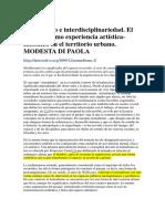 Nomadismo e Interdisciplinariedad. MODESTA DI PAOLA
