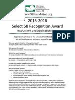 Select 58 Award Application 2016
