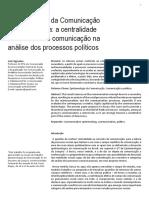Epistemologia Da Comunicacao Na Democracia a Centralidade Do Conceito de Comunicacao Na Análise Dos Processos Políticos