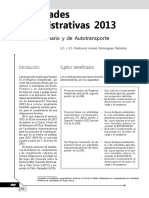 Facilidades Administrativas 2013. Sectores Primario y de Autotransporte
