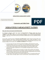 Public and Constructive Notice for formation of Nehantick-Nahaganset Nation