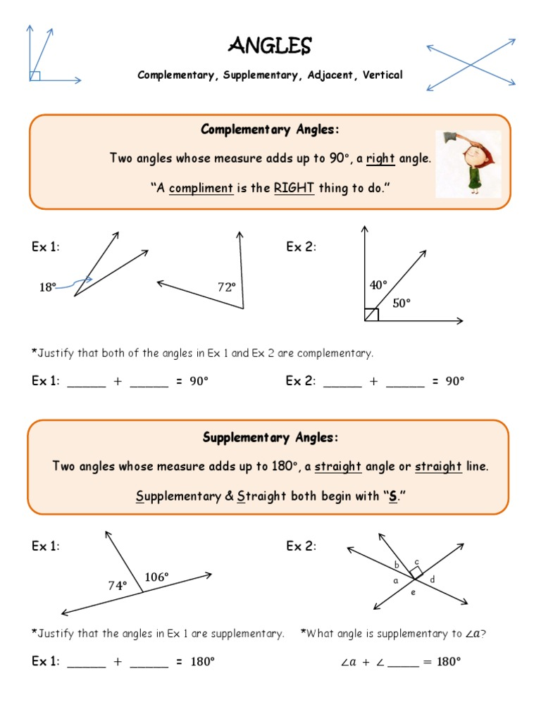 Angles Complementary Supplementary Vertical Adjacent Coloring Activity Angle Euclidean Plane Geometry