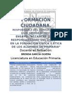 """Ensayo """"Alcances de La Responsabilidad Del Docente en La Formación Cívica y Ética de Los Alumnos de Primaria"""""""