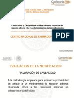 Clasificación y Causalidad de Eventos Adversos, Sospechas de Reacción Adversa y Las Reacciones Adversas de Los Medicamentos