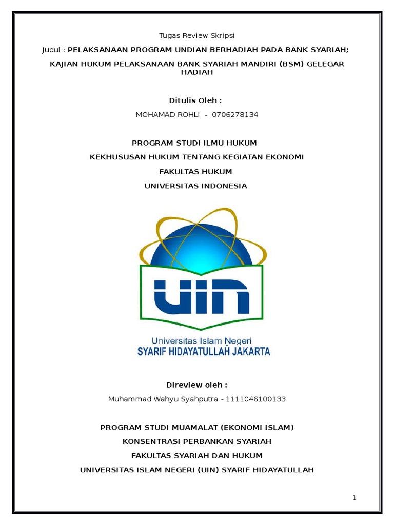 Review Skripsi Judul Pelaksanaan Program