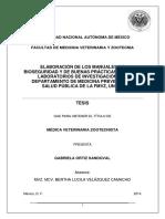 ELABORACIÓN DE LOS MANUALES DE BIOSEGURIDAD Y DE BUENAS PRÁCTICAS PARA LOS LABORATORIOS DE INVESTIGACIÓN DEL DEPARTAMENTO DE MEDICINA PREVENTIVA Y SALUD PÚBLICA DE LA FMVZ, UNAM.