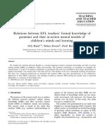 Relation Between EFL Teacher Formal Knowledge of Grammar And