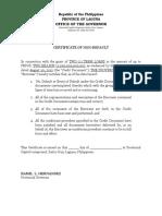 Certificate of Non-Default