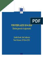 Presentazione Por Fesr Lazio