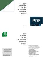 Informe La calidad del aire en la ciudad de Madrid en 2015