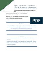 Brevísimas Instrucciones Para Presidentes y Secretarios de Los Tribunales de Los Trabajos Fin de Grado