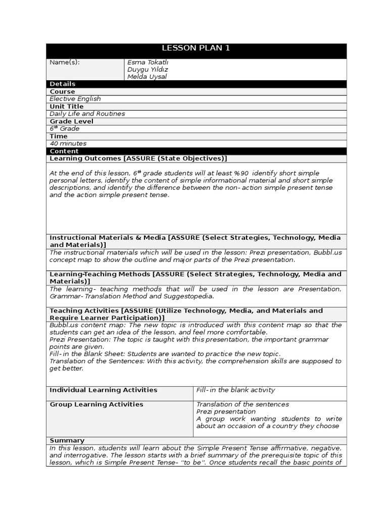 English lesson plan. Technological map of the English lesson 66