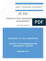 Construction Engineering Ce 332-Lecture Notes 2014