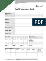 Oral Test Mark Sheet