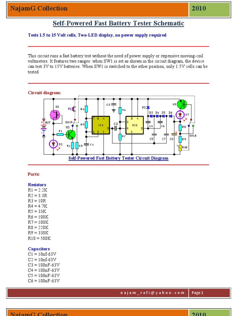 self powered fast battery tester schematic componentes  a very simple led tester electronic