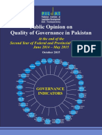 Public Opinion on the Quality of Governance in Pakistan