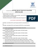 Modalites de Selection en Master Specialise
