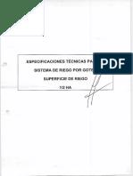 Especificaciones Tecnicas de Sistema de Riego Por Goteo