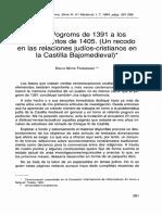 Mitre Fernández (E.)_De Los Pogroms de 1391 a Los Ordenamientos de 1405. Un Recodo en Las Relaciones Judíos-cristianos en La Castilla Bajomedieval (ETF, s. 3, H. Mediev., 7, 1994, 281-288