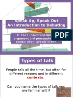 Year 8 - Introduction to Debating - Lesson 1 - What is Debate