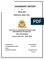 MCA 454 Java Lab Assignment 1