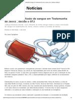 É Possível Transfusão de Sangue Em Testemunha de Jeová , Decide o STJ _ Notícias JusBrasil