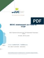 Beuc-x-2014-054 Cpe Beuc Statement on Food Ttip