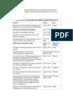 Academic Calendar for Spring Semester 2015-16