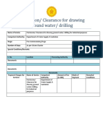 Permission Clearance for Drawing Ground Water Drilling