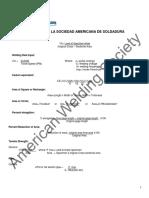 Formulas de American Welding Society (AWS)