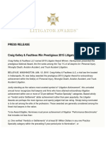 Craig, Kelley & Faultless Wins Prestigious Litigator Award