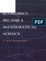 How Economics Became a Mathematical Science Science and Cultural Theory