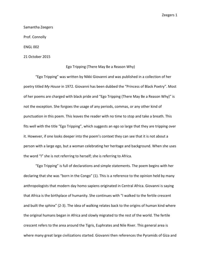 nikki giovanni ego tripping essay