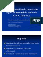 Documentación de un escrito utilizando el manual de estilo APA (6ta ed.) Parte III-Referencias bibliográficas