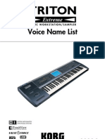 Korg Triton Extreme Voice Name List