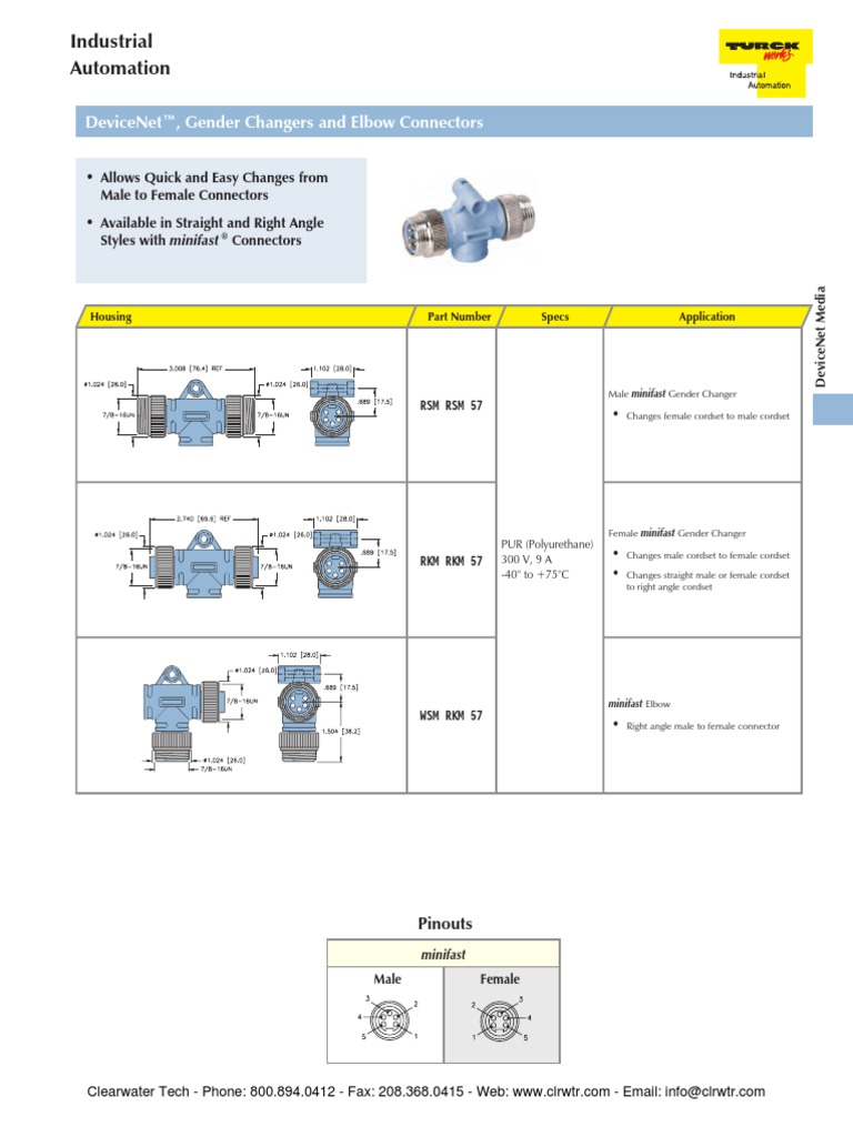 TURCK DeviceNet Connectors Receptacles | Electrical Connector | Printed  Circuit Board