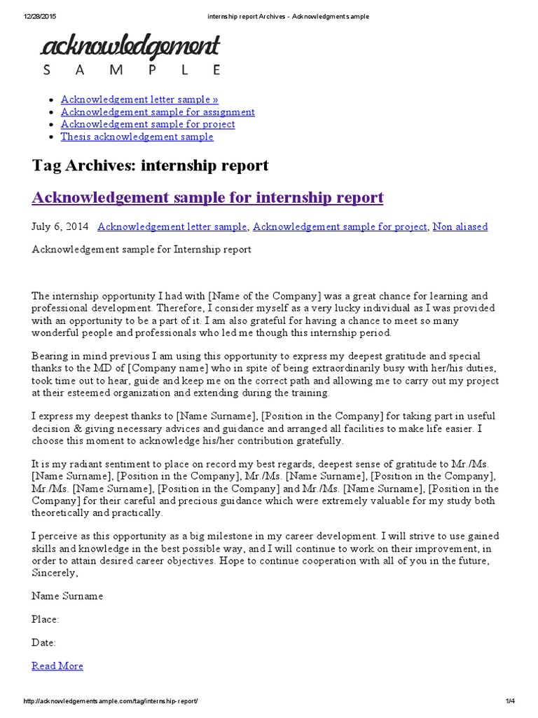 Internship Report Archives Acknowledgment Sample Thesis
