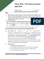 AIIMS Recruitment 2016 – 32 Various Vacancies Jobs Notice Apply Now
