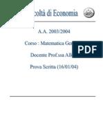 Tema d'esame di Matematica Generale,Appello_2004_Gennaio